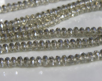 Silvery Luster 3x2mm Faceted Gemstone Rondelle Czech glass beads  50