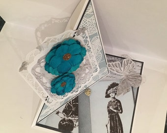 Elegant Easel card with blue flowers, lace panel and layered base