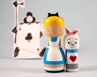 Wooden doll  kokeshi Pegdoll Alice in Wonderland and White Rabbit Disney movie handmade