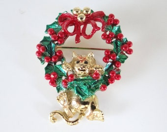 Cute Vintage Christmas Cat Hanging from a Wreath with Red Holly Berry Leaf and Bow on a Gold Tone Setting - Vintage Christmas Wreath