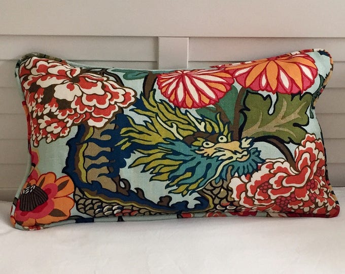 OUTDOOR Schumacher Chiang Mai Dragon in Aquamarine (on Both Sides) Lumbar  Designer Pillow Cover with Piping
