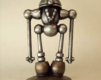 Robot Wood Pendant or Pin Viktor with Sculpture Base Stand Dangle