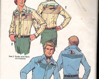 Vintage 1976 Simplicity 7465 Retro Men's Shirts & Transfers Sewing Pattern Size X Large 46-48