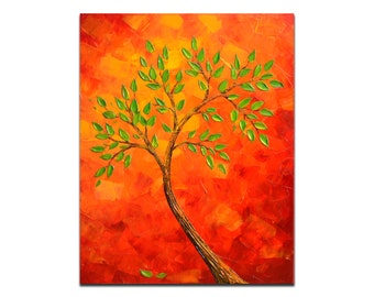Anniversary gift, abstract tree painting,  red orange yellow wall decor, office wall art decor, palette knife painting art