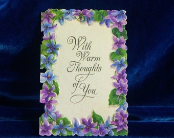 1960's Hallmark Violets Greeting Card Thinking of You