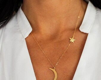 StarGazer Necklace - minimal celestial crescent Moon and Star Asymmetrical Necklace Astronomy Layering Boho Bohemian Jewelry