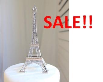 "6"" Silver Paris Eiffel Tower Cake Topper, Madeline, France, Centerpiece, Parisina Decoration, overthetopcaketopper, SALE, Discount, Must Go"