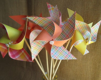 Paper Pinwheels Birthday Favors 10 Pinwheels Birthday Gingham Plaid Party Favors Baby Shower Favors Table Centerpiece Wedding Decoration