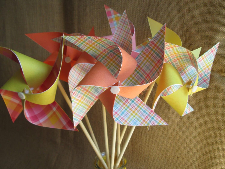 Paper Pinwheels Birthday Favors 10 Pinwheels Birthday Gingham