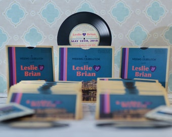 vinyl record invitations, music themed wedding invites | Handmade in Canada by ---- www.empireinvites.ca ---