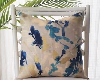 Waverly Leaf Storm Indigo Teal Metallic Gold Linen Floral Pillow Cover
