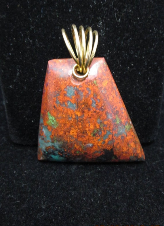 """Sonoran Sunrise pendant, red green blue black, """"Pointed Quadrilateral"""", twirl bail 54ct"""