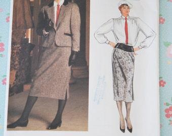 AVANT GARDE 1980s Guy Laroche Slim Skirt Suit VOGUE Paris Original 1617 Designer Vintage Sewing Pattern