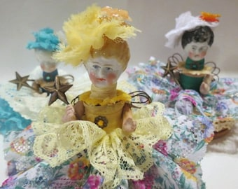 "Assemblage Angel ""Sunny Yellow""  Assemblage Art Doll, Antique Doll Parts, Vintage Style Art Doll"