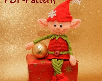 Crochet pattern Christmas elf Amigurumi Instand Download PDF 17 pages