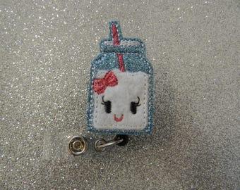 Glitter Milk Jug Badge Reel, Medical Badge Reel, ID Badge Holder clip, Retractable, Feltie, Milk Felt Badge Reel