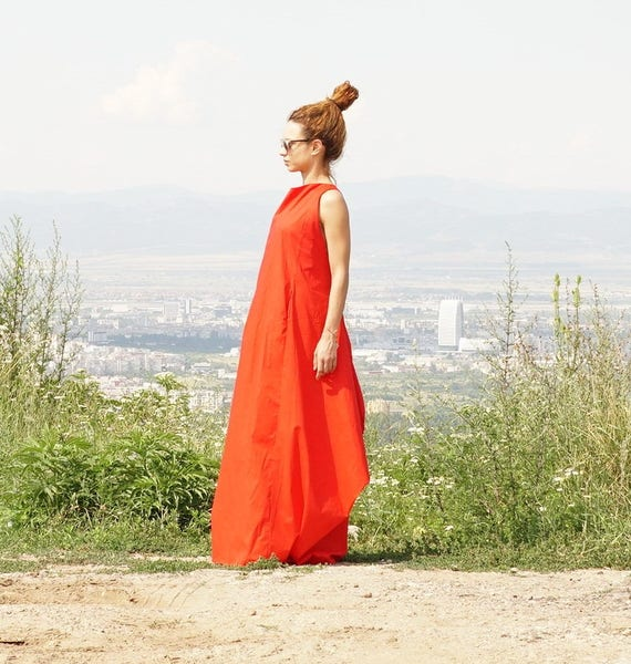 Linen Maxi Dress, Abaya, Oversized Dress, Caftan, Extravagant Cape with Pockets, Elegant Tent, Summer Gown, Long Summer Dress