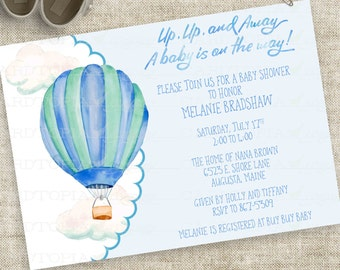 Watercolor Hot Air Balloon Baby Shower Invitation Boy Blue and Green Personalized Digital Printable DIY Professional Printing Option