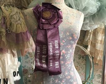 Antique Vintage Shabby Chic 4H Four H Adair County Fair Purple Award Rosette Ribbon