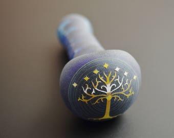 Blue LOTR Tree Of Gondor Engraved Glass Smoking Pipe