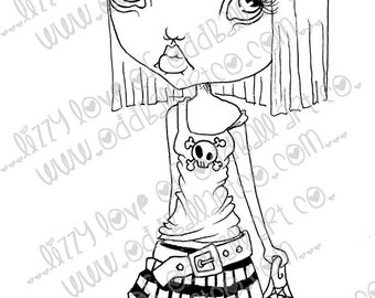 Digi Stamp Digital Instant Download Creepy Cute Big Eye Bunny Girl ~ Maddelina ImageNo. 83 & 83B by Lizzy Love