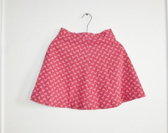 Vintage Red Tennis Print Girl's Skirt