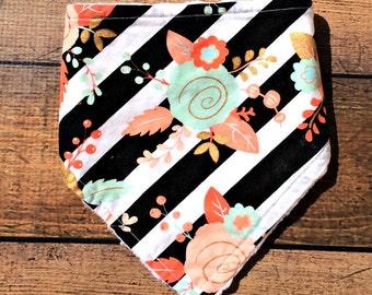 floral bandana bib, striped baby bib, personalized baby girl bib, baby bibs handmade, bandana drool bib, baby bibs girl, baby shower gifts