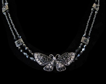 Crystal Butterfly With Black Beads Beaded Chain Choker Necklace Gray Grey Black