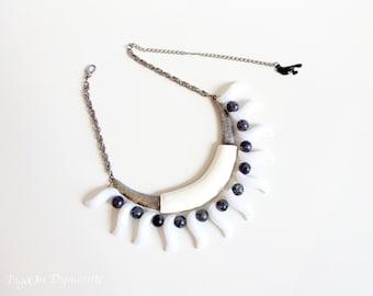 Bold Tribal Bib Necklace-Big Bold Chunky Necklace-Chunky Statement Necklace-One of a Kind Mix Media Necklace-Chunky Bib Neckalce