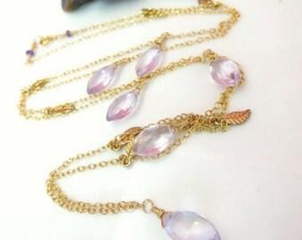 Pink amethyst dew drop gold leaf necklace, bohemian chic gold leaf pink amethyst marquis long statement necklace