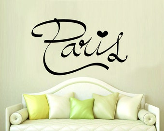 Paris Quote Wall Decal Paris Silhouette Vinyl Stickers Decals Art Home Decor Mural Vinyl Lettering Wall Decal France Bedroom Dorm x251