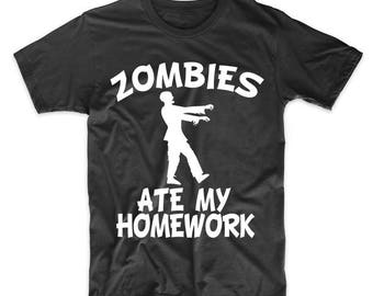 Zombies Ate My Homework Funny Zombie T-Shirt
