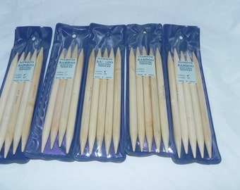 "Bamboo Double Pointed Knitting Needles Plymouth US 17 - 8"" Length"