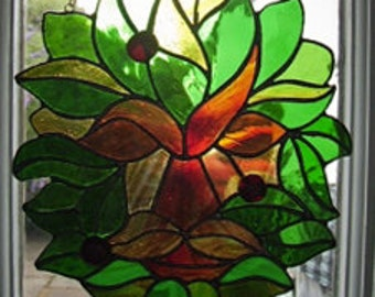 Rustic Free-hanging Stained Glass Panel of a Green Man