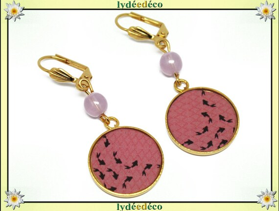 Earrings brass gold 24 k Japan black resin pink goldfish bead gift birthday mother's day wedding centerpiece