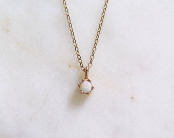 Tiny Opal Necklace in 14k Rose gold, 6 Prong, Bridal Jewelry, Minimalist Pendant, Delicate Necklace, Birthstone