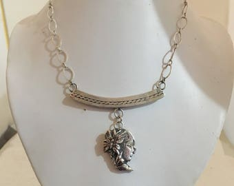 Sterling silver butterfly lady necklace on sterling silver chain