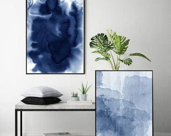 Set of 2 Abstract Watercolor Prints Blue Paintings Indigo Blue Navy Wall art Minimalist art Minimal Watercolor Large Abstract art Modern art