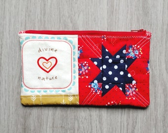 Zipper Pouch (Divine Faith), Purse Pouch, Quilted Zipper Pouch, Quilted Pencil Case, Quilted Zipper Pouch, Cosmetic Case