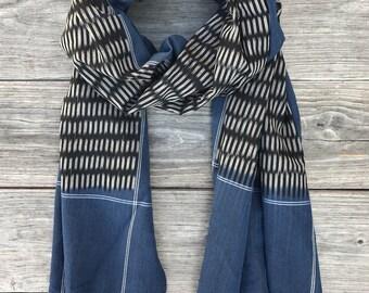Cobalt Blue & Black Ikat Cotton Scarf with Tassels: Fair Trade
