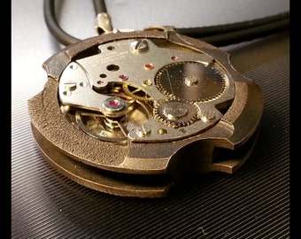 handmade bronze steampunk pendant