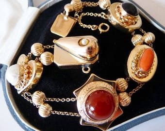 antique Victorian 14 K gold watch fob slide bracelet | 14K gold | 1890 1920 | vintage Edwardian bracelet | carnelian onyx pearl coral