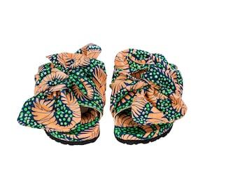SHAKARA GREEN Sandals, Ankara Sandals, Ankara Slides, Bow Tie Slides, Bow  Tie