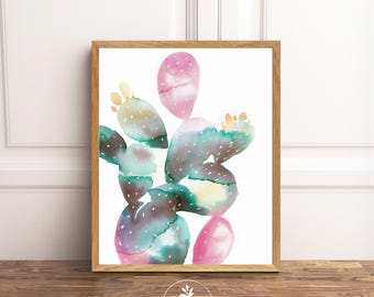 Abstract Cacti - INSTANT DOWNLOAD - watercolor, printable art, abstract watercolor, painting by Faboomie