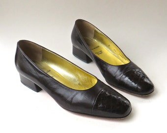 vintage Bruno Magli Dark Brown Leather Flats with Reptile Embossed Toes / Made in Italy