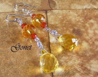 Citrine And Red Agate Earrings by Gonet Jewelry Design