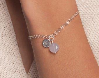 Silver initial bracelet gemstone choice, personalised silver bracelet, Silver charm bracelet with initial, delicate silver bracelet
