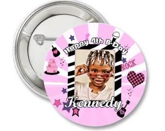 Custom Rockstar Birthday Photo Pinback Button-3.5 inches