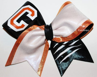 Cheerleading Allstar School Initial Bow with slashmarks by Funbows