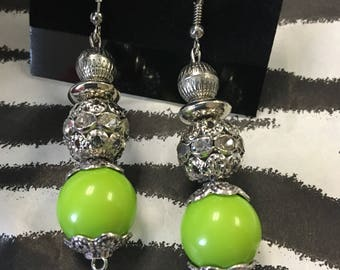 Silver and green fashion earrings